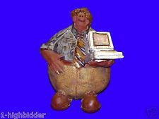 """SIGNED 1995 Dilbert Fat Computer IT Guy Painted Ceramic Figure Paper Weight 5"""""""