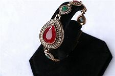 Elegant Green Red Blue Teardrop Rhinestone Silver/Gold Plated Lady Bracelet