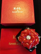 New Kenneth Jay Lane KJL Red Flower Cuff Bracelet