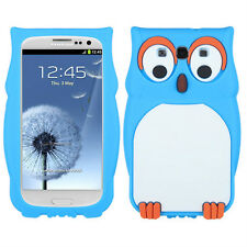 For Samsung Galaxy III 3 Rubber SILICONE Skin Gel Case Phone Cover Blue Owl