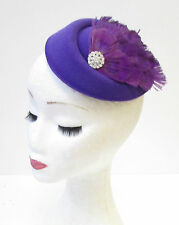 Purple Silver Peacock Feather Pillbox Hat Fascinator Headpiece Vintage Hair 1336