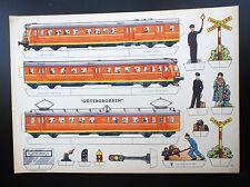 TRES RARE superbe planche à découper Trains Goteborgaren Suède Nyfa