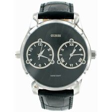 NEW ORIGINAL GUESS DEUCE DUAL 2 TIME ZONE BLACK LEATHER STRAP MEN WATCH U95027G1
