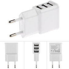 White Multi Port USB Charger 3 Ports Adapter Travel Wall AC Power Supply EU Plug