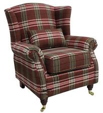 Ashley Fireside High Back Wing Armchair Balmoral Red Check Fabric