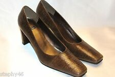 NEW! STUART WEITZMAN Brown Lizard Leather Square Toe Classic Heels Pumps 8.5 M