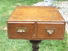 """Vintage Macey Dovetailed Wood Oak Two Drawer 3"""" x 5"""" Antique Index Card File Box"""