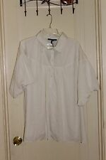 Blue Couture NWT Puff Sleeve Blouse Lined Cotton Accents Machine Wash Ivory 1X