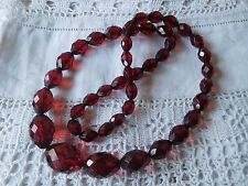Lovely Old Art Deco Cherry Amber Faceted Bead Necklace with screw amber clasp