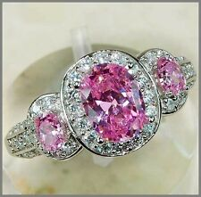 3CT Pink Sapphire & White Topaz 925 Solid Genuine Sterling Silver Ring Sz 7-US