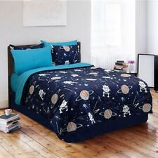 SPACE PLANETS ROCKET SATURN BLUE TEAL GREY BOY SOFT COMFORTER SET - TWIN OR FULL