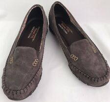 Women's Skechers Relaxed Fit Memory Foam Chocolate Suede Shoes Loafers Size 8