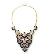 New Fashion Party Black Resin Drop Hollow Out Fan shaped Statement Bib Necklace