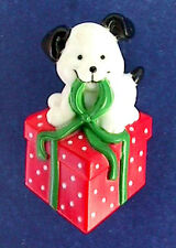RUSS Pin CHRISTMAS Puppy DOG on GIFT Box PACKAGE Vtg Xmas Holiday BROOCH Vintage