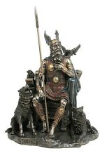 Norse God Odin Statue with Wolves Mythological Viking Figurine #WU69116A4