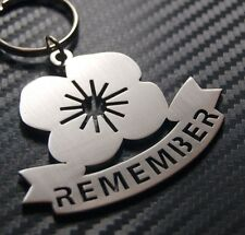 REMEMBRANCE POPPY Remember Armed Forces War Veterans Soldier Keyring Keychain
