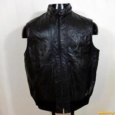 OLEG CASSINI Vtg Argentina Leather Biker VEST Mens 44 Size L large Black