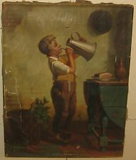 ANTIQUE J.G. BROWN SCHOOL *CHILD IN KITCHEN* GENRE OIL PAINTING - NEEDS REPAIR