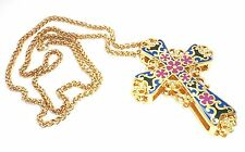 Enamel Czech Rhinestone Gold-plated Pewter Multicolored Cross Pendant Necklace