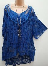New Lagenlook Royal Blue 2 pc Mesh Top & vest Tunic 16 18 20 22 24