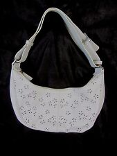 Hollywood White Leather Floral Cut Outs Purse Handbag Shoulder  BP7