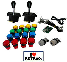 Arcade Game Kit x2 Spanish joysticks negros 16 botones iluminados + Usb encoder