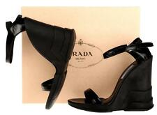 NEW PRADA MILANO BLACK LEATHER WEDGE SANDALS HEELS SHOES 39/9
