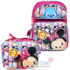 "Disney Tsum Tsum Large 16"" School Backpack Book Bag Lunch Bag 2pc Set Pink AOP"