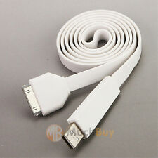 3Ft 1M Flat USB Data Sync Charger Cable for iPhone 3GS4G 4S iPod iPad2/3 White