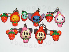Yujin Disney Strawberry Mickey Pooh stitch keychain figure set (full set 5 Pcs)
