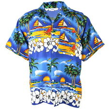 Hawaiian Aloha Shirt Coconut Big Chaba Beach chair Ship Blue XXL hgn244s