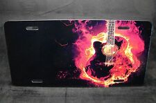 GUITAR METAL NOVELTY LICENSE PLATE FOR CARS AND TRUCKS BURNING GUITAR