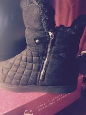 Madden Girl 'Downwind' Puffer Ankle Winter Fur Quilted Black Boots 10M