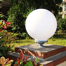 20cm WHITE ROUND GLOBE OUTDOOR LIGHT PLASTIC FIXTURE LAMP POLE ACRYLIC NEW POST