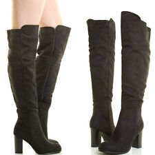BLACK ALMOND TOE STACK CHUNKY THICK BLOCK HIGH HEEL OVER THE KNEE WOMEN BOOT 8.5