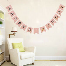 Pink Happy Birthday Party Bunting Garland Gold Letters Hanging Banner 2016