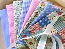 Telas patchwork X 8 100% algodón tejido Vintage Shabby Chic Polka Dot Floral