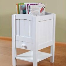 NEW Chairside Table Magazine Organizer Wood White 2Top Compartment-Shelf-Drawer