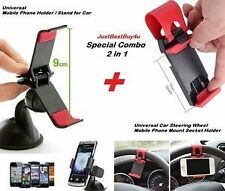 Combo Universal Car Steering Wheel Mobile Phone Mount Socket + GPS Holder Stand
