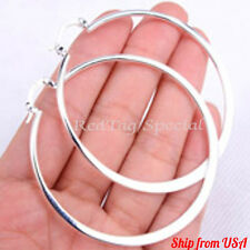"Smooth 925 Sterling Silver Fashion 2.1"" Round Flat Hoop Earrings Jewelry R815"