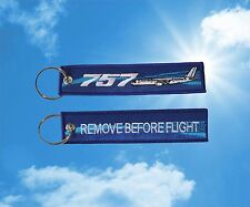 "Boeing 757 ""Remove Before Flight"" keychain luggage baggage Tag Blue"