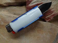 Blue Lighter Holder With Spring Assist Knife Lighter Bro KS1516BL