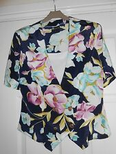 Floral Double Breasted Short Sleeve Top with Attached White Camisole, Size 10