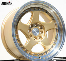 16x8 +15 Aodhan Ah01 16X8 4X100 Gold Wheel Fit MINI COOPER S JCW Mirage LANCER