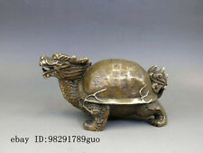 Chinese Brass Copper Fengshui God Animal Dragon Turtle Statue