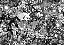 MARVEL COMIC STICKERBOMB WRAP SHEET(VEHICLE CAST VINYL) 1.3m X1m COMIC  B&W