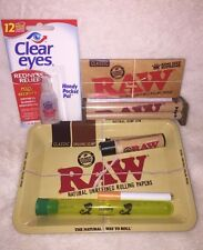 RAW 420 STARTER KIT-PAPERS-MINI TRAY-ROLLING MACHINE-LIGHTER-DOOBTUBE-CLEAR EYES