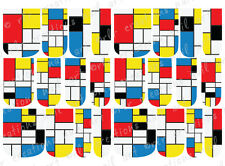 24 FULL COVER Water Slide Nail Decals * MONDRIAN ART * 12 SIZES  NAIL WRAPS