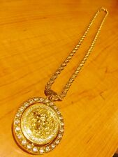 "Men's Versace Medusa 18k Gold Filled 36"" Rope Chain Double-Sided Pendant"