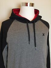 NEW Hurley Men's Hoodie Sweatshirt Size LARGE (L) Gray/Charcoal/Red